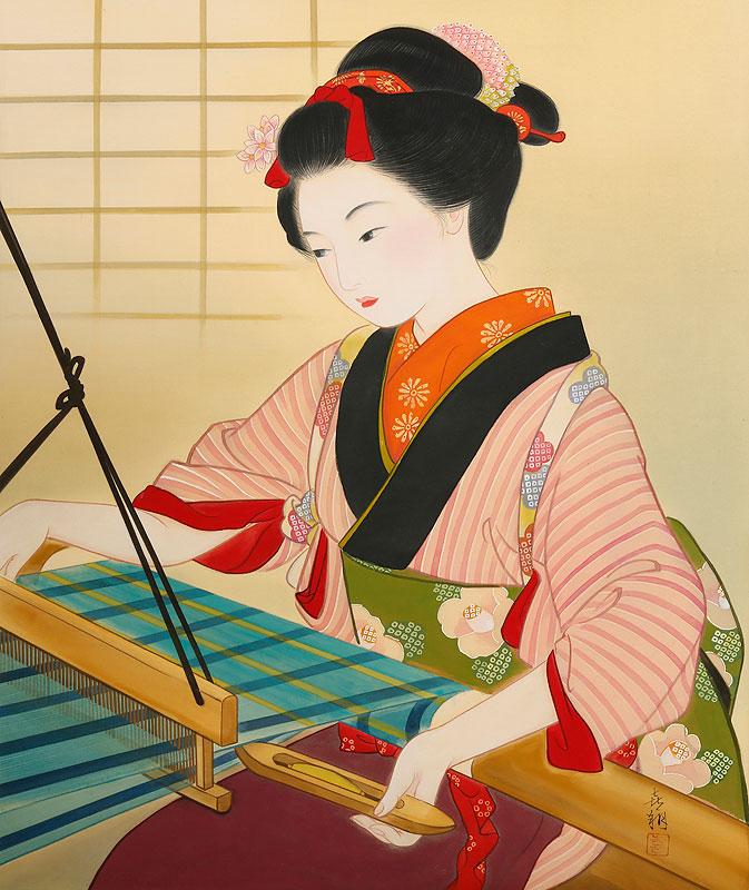 女性イラスト 美人画 機織り機で着物を織る働く女性