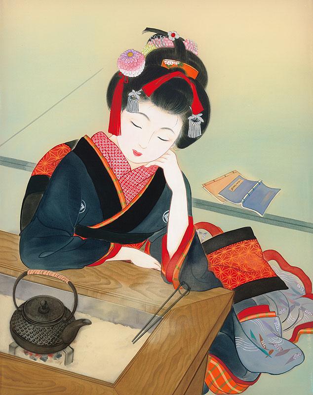 江戸時代の女性イラスト 美人画 火鉢で物思いにふける着物姿の女性
