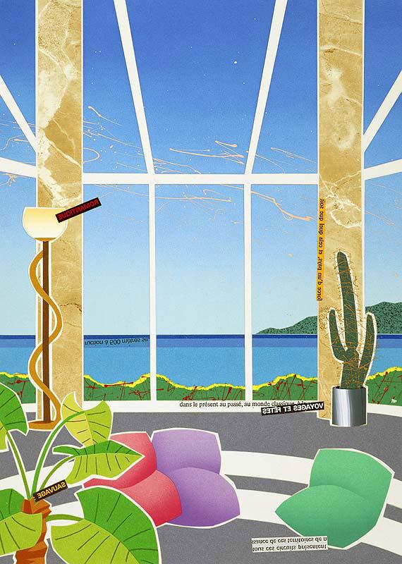 渡邊アキラ 水辺が見える大きな窓の部屋サンルームから見渡す一面の風景イラスト 風景イラスト