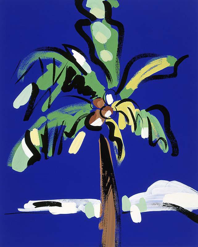 ヤシの木イラスト 青空!椰子の木は白波常夏