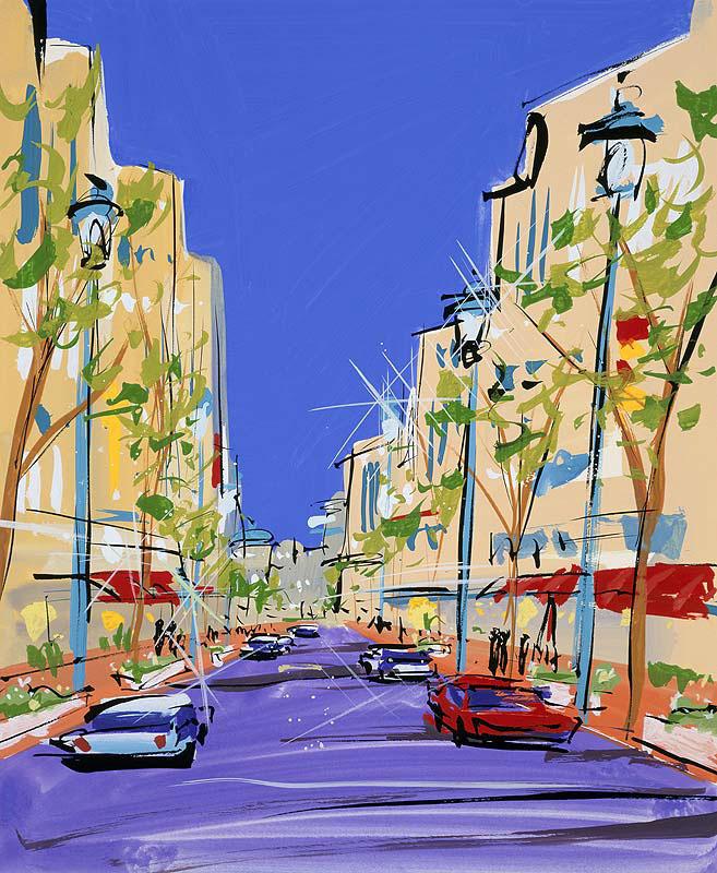 街並みイラスト ショッピングストリートの風景