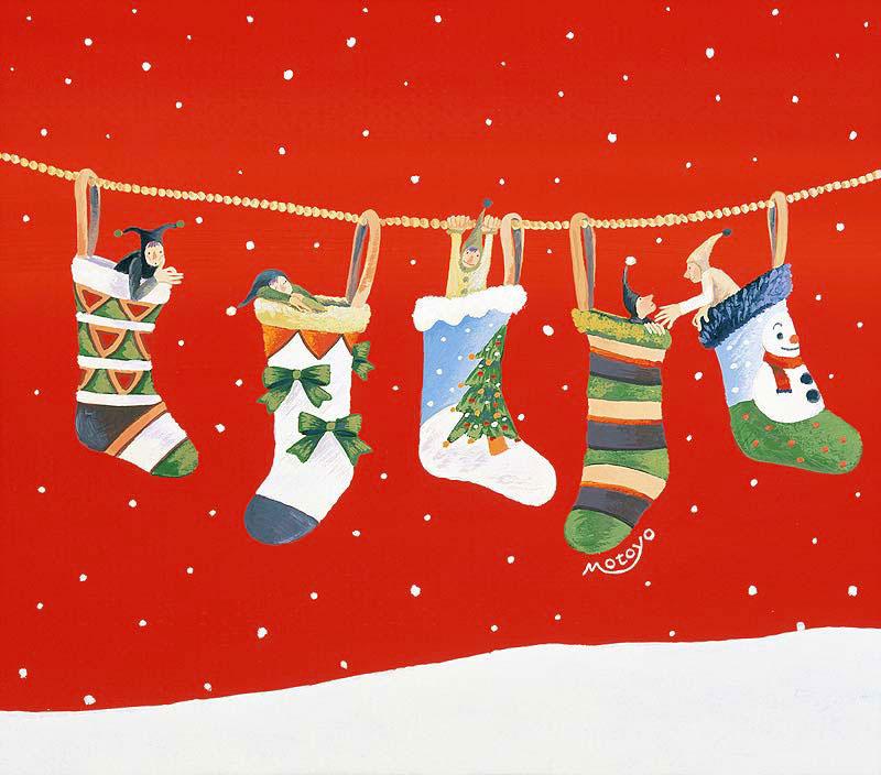 藪田素世 クリスマスのカラフル靴下と顔を出す小人イラスト