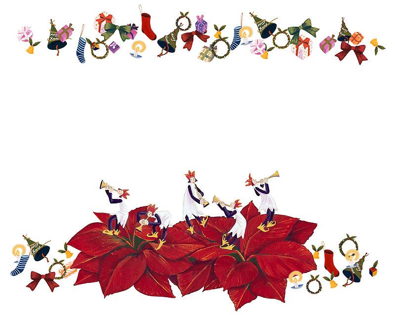 藪田素世 ポインセチアとクリスマスアイテムで賑やかクリスマスコンサートのクリスマスフレームイラスト