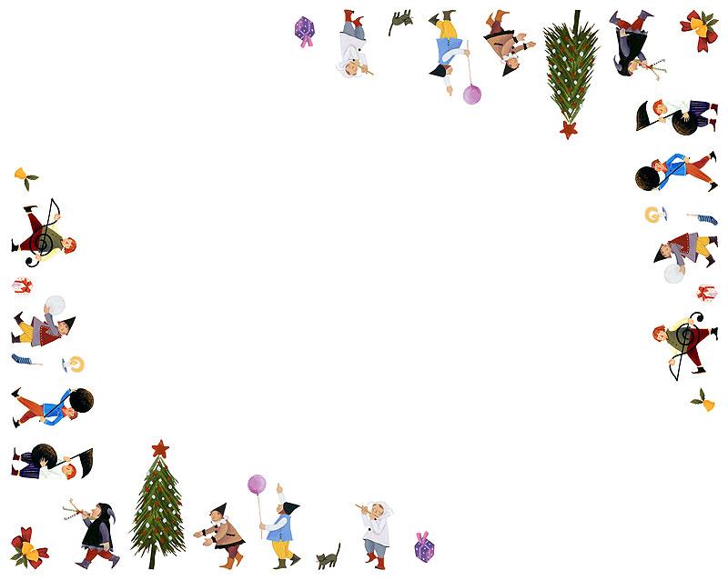 藪田素世 クリスマスツリーとクリスマスメロディのこども達フレームイラスト
