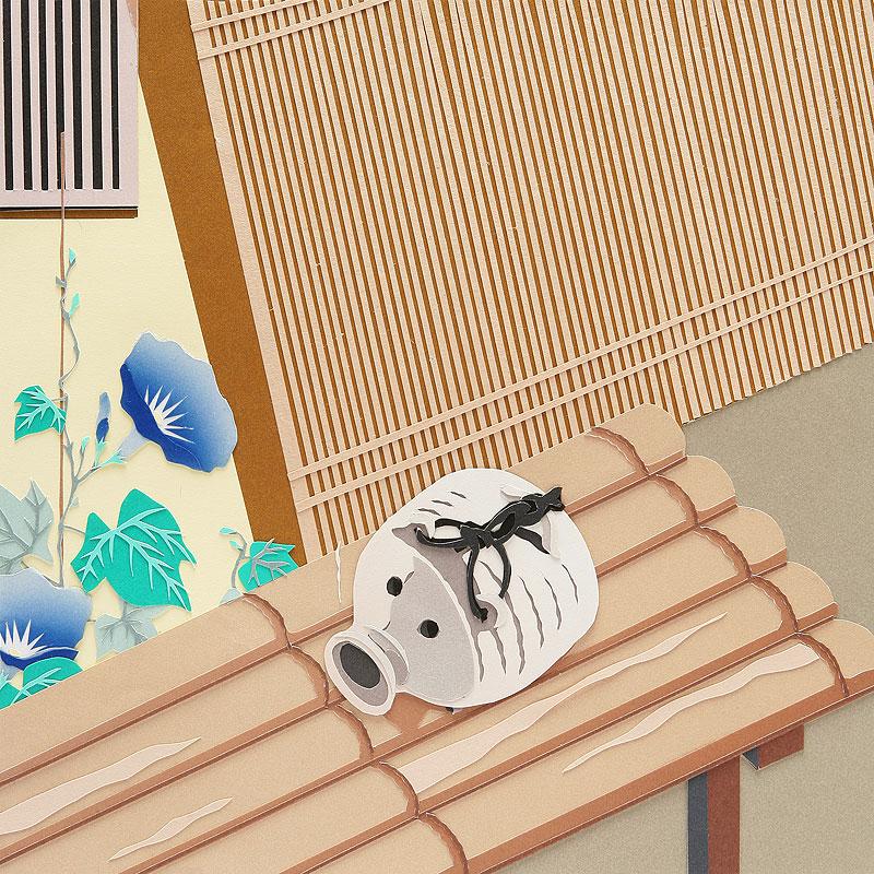 山本高史 和風・夏の切り絵イラスト