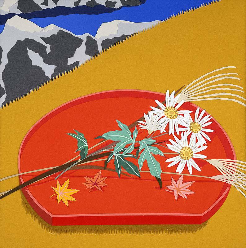 秋の和風イラスト 朱盆に載せた野菊