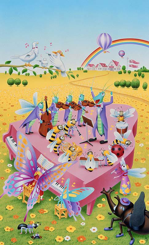 山本好光 春の花畑で音楽演奏会を行う虫たちイラスト 春イラスト