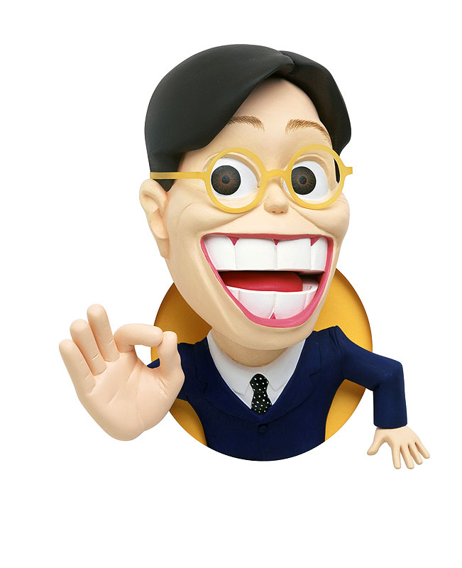 ビジネス人物イラスト OKと飛び出す笑顔の営業マンお勧め歓迎