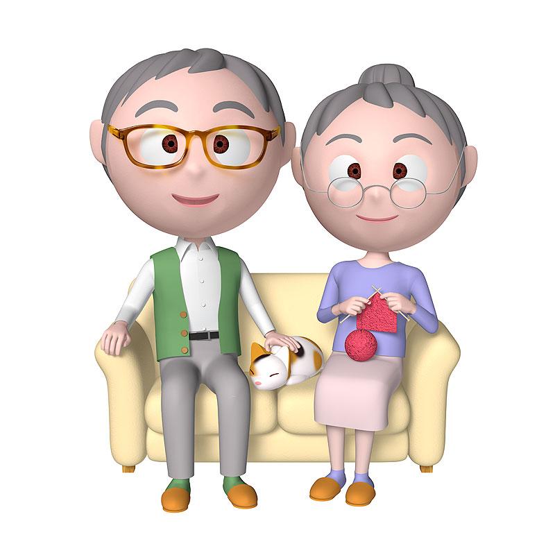 高齢夫婦イラスト ソファに座った三毛猫をなでる眼鏡のおじいちゃんと編み物...   高齢夫婦イラ