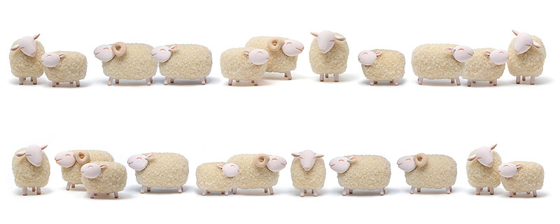 山岡敏和 2015年干支「未」飾り枠・フレームイラスト 羊の横並びフレーム枠