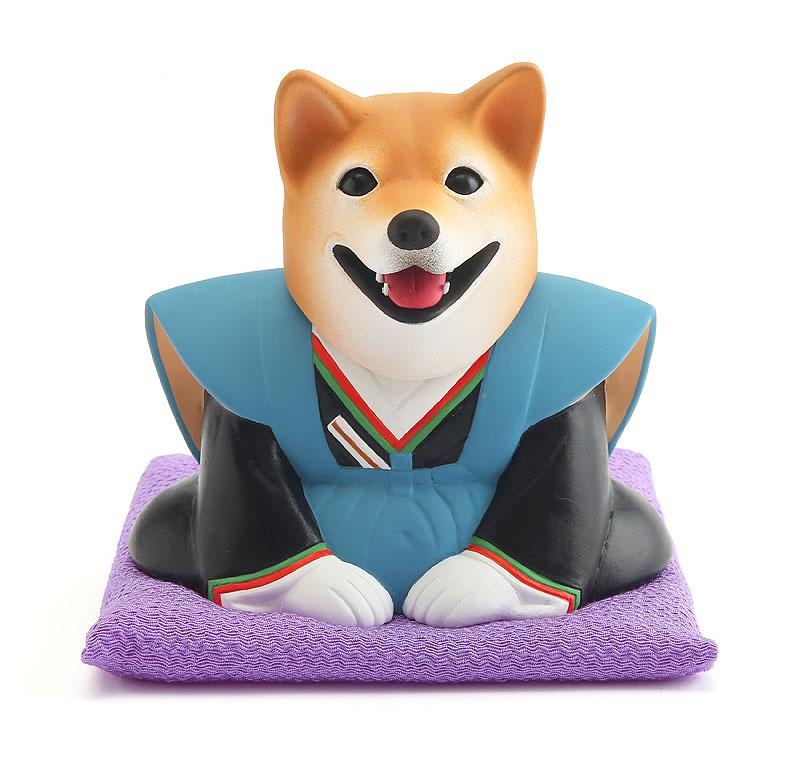 2018年干支「戌」年賀状イラスト 新年正月の挨拶をする犬の福助