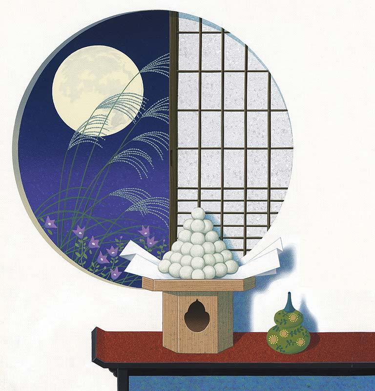 お月見イラスト 丸窓のすすき越しの十五夜の月見と月見団子