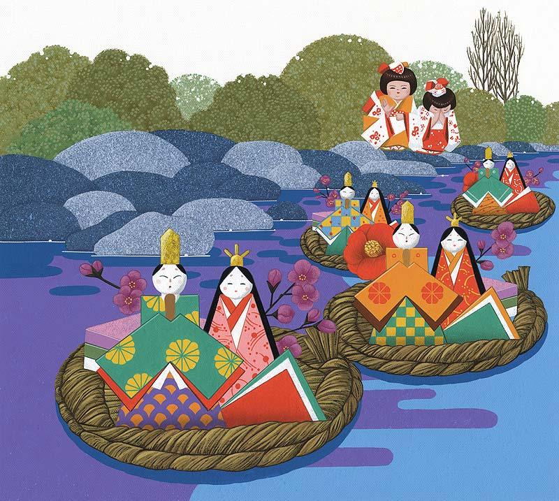 ひな祭り・流し雛イラスト 流し雛の雛人形を水に流す女の子
