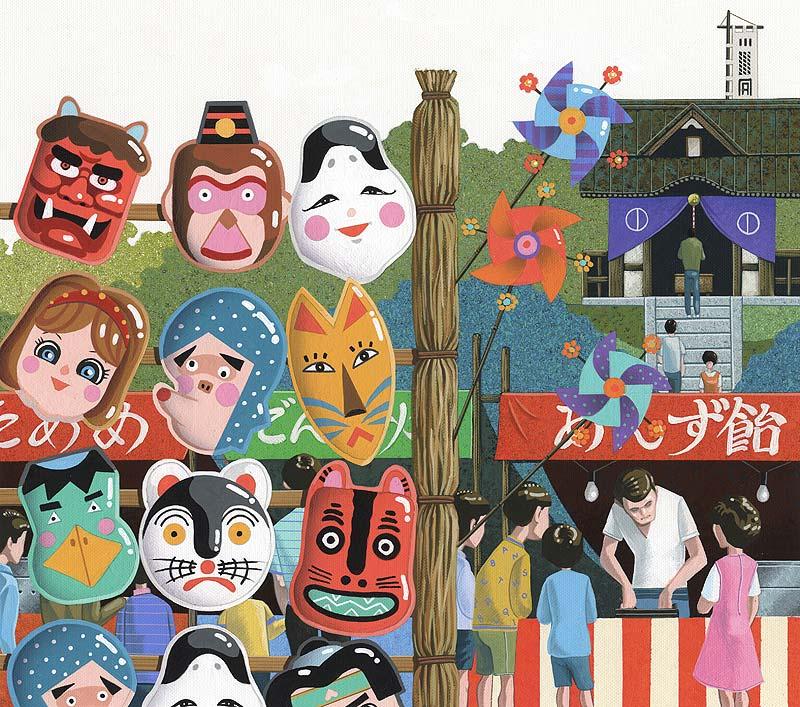 お祭りの屋台・神社の縁日イラスト 昭和レトロ