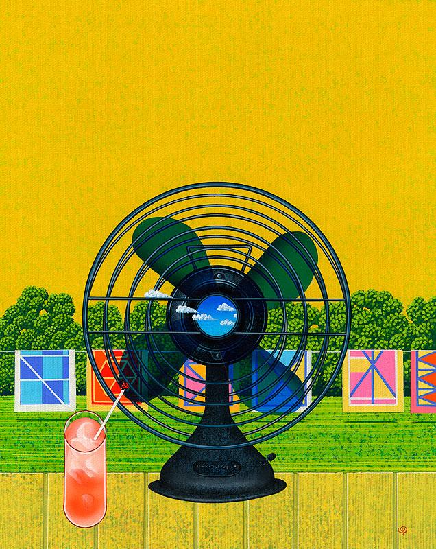 安田雅章 レトロな扇風機と夏の空と雲、美味しいジュースと縁側の風景イラスト 風景イラスト