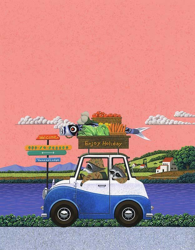安田雅章 カレンダー表紙イラスト 5月の連休にドライブするアライグマの親子