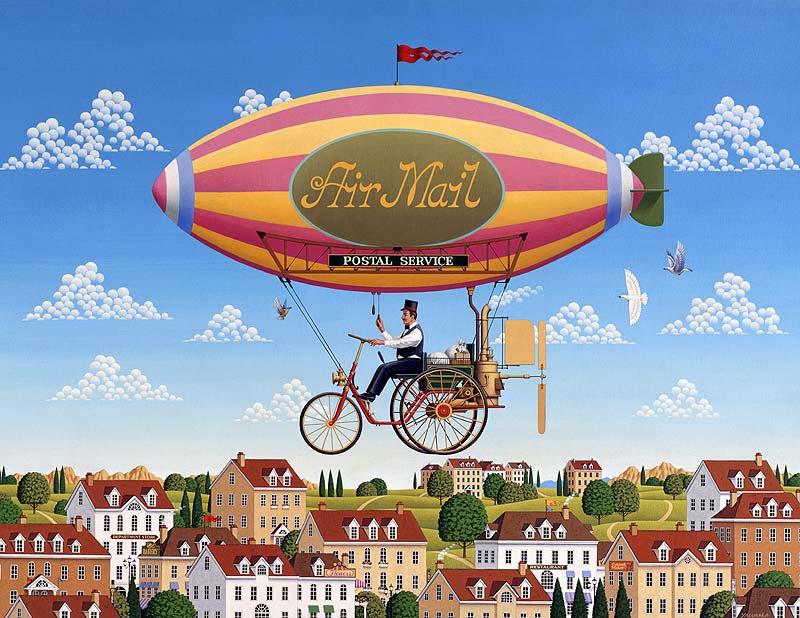 安中昭夫 自転車気球で郵便配達の風景イラスト
