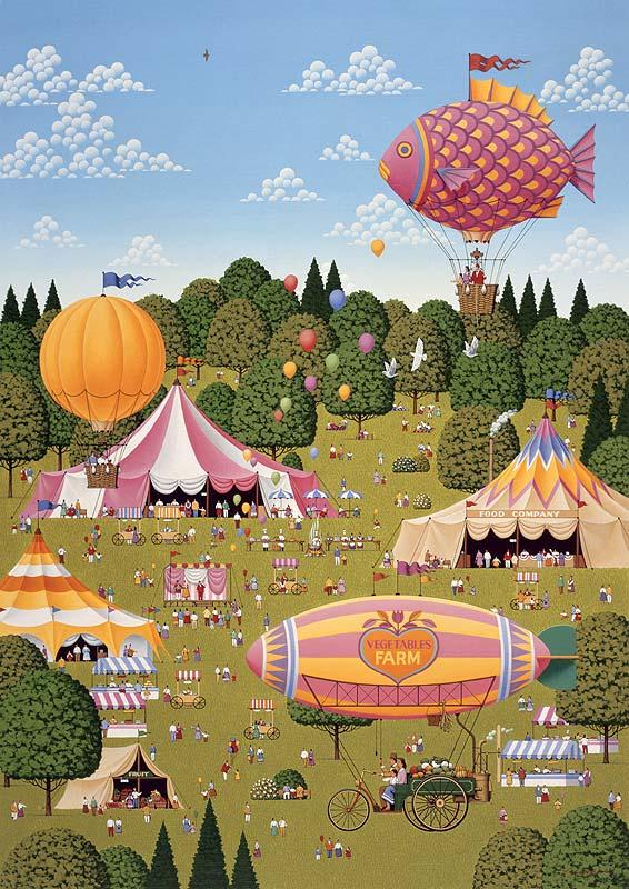 安中昭夫 サーカステントと気球でお祭りイベントフェスティバルイラスト