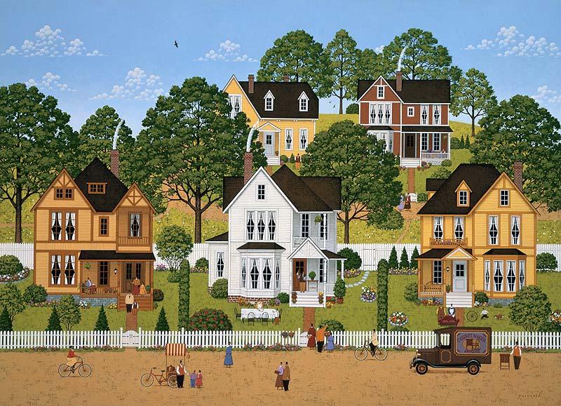 安中昭夫 自然溢れる小高い丘の家々町並みイラスト