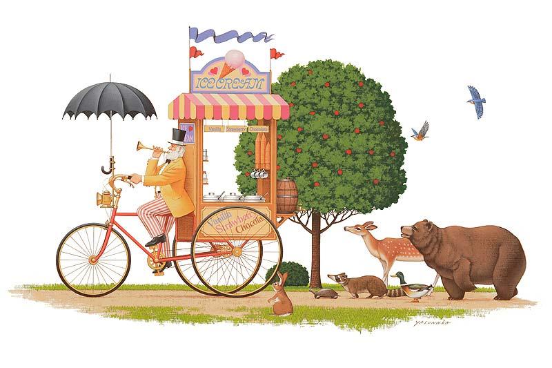 安中昭夫 アイスクリーム売りのおじいさんと動物たちのメルヘン童話イラスト メルヘンイラスト