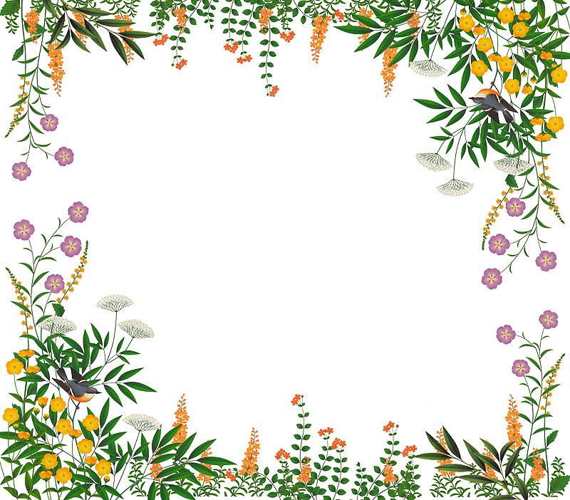 安中昭夫 美しい花と植物の中に飛ぶ小鳥のフレームイラスト