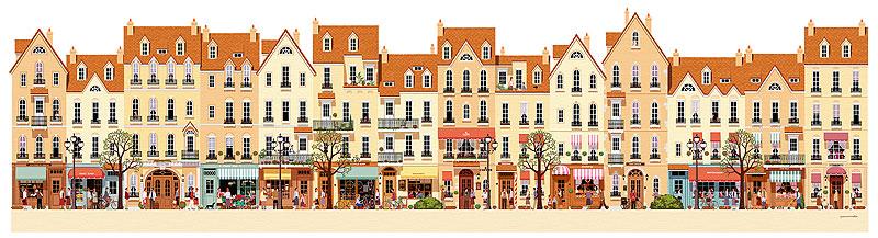 町並みのパノラマイラスト 店舗が建ち並ぶショッピング街の町並みと人々