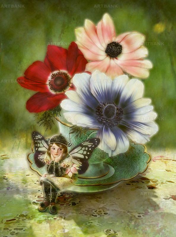 横田美晴 ティーカップに入ったアネモネの花と頬杖をついて座る妖精イラスト メルヘン妖精イラスト